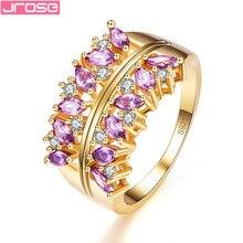 JROSE Wedding Band Purple & White Cubiz Zirconia Silver Goldplated Ring Size 6 7 8 9 Dazzling Pretty Fashion Women Jewelry