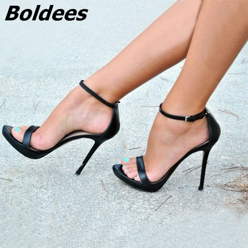 New Style Black Open Toe Line-Style Sandals Sexy Straps Stiletto Heels Woman Ankle Strap Dress Concise Style Shoes