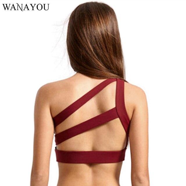 8c784d05a9ddd WANAYOU Oblique One Shoulder Sports Bra