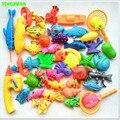 45 pcs Conjunto de Brinquedos De Pesca Magnética Plástico Kids Game 2 Pólos 2 redes de 37 Ímã Peixe 4 frutas Diversão Ao Ar Livre Indoor 3-6 anos bebê