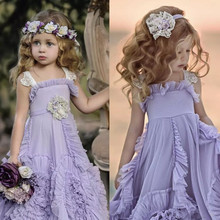 Dollcake púrpura flor niña vestidos para boda volantes encaje 2018 nueva Bohemia boda Vintage playa Niña vestidos de boda