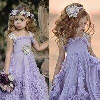 Dollcake Purple Flower Girl Dresses for Wedding Ruffles Lace 2018 New Boho Wedding Vintage Beach Wedding Girls Dresses