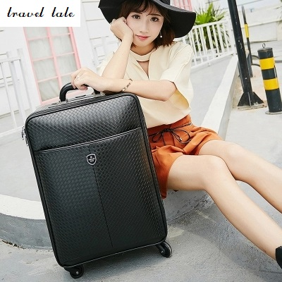 Travel tale fashion 16/20/24 size 100%PU Rolling Luggage Spinner brand Travel Suitcase vintage suitcase 20 26 pu leather travel suitcase scratch resistant rolling luggage bags suitcase with tsa lock