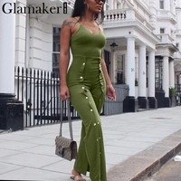 Glamaker Fashion Split Halter Jumpsuit Romper Women Sexy Backless Long Jumpsuit Playsuit Elastic Button Casual Jumpsuit