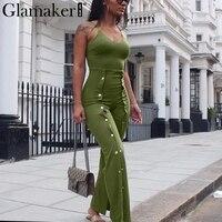 Glamaker Fashion Split Halter Jumpsuit Romper Women Sexy Backless Long Jumpsuit Playsuit Elastic Button Casual Jumpsuit