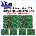 DHL Бесплатная доставка 50 шт. 2in1 беспроводной Контроллер dmx 512 передатчик и приемник ПЕЧАТНОЙ ПЛАТЫ СВЕТОДИОДНЫЙ модуль Dmx Контроллер Освещения