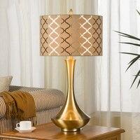 Creative Fashion Bronze Silver Iron Art Fabric Led E27 Table Lamp for Wedding Decor Bedroom Bedside Living Room tiffanylampe