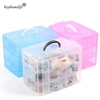 High Quality 3 Layer Storage Box Removable Transparent Dresser Finishing Groceries Makeup Cosmetic Box Home Bathroom
