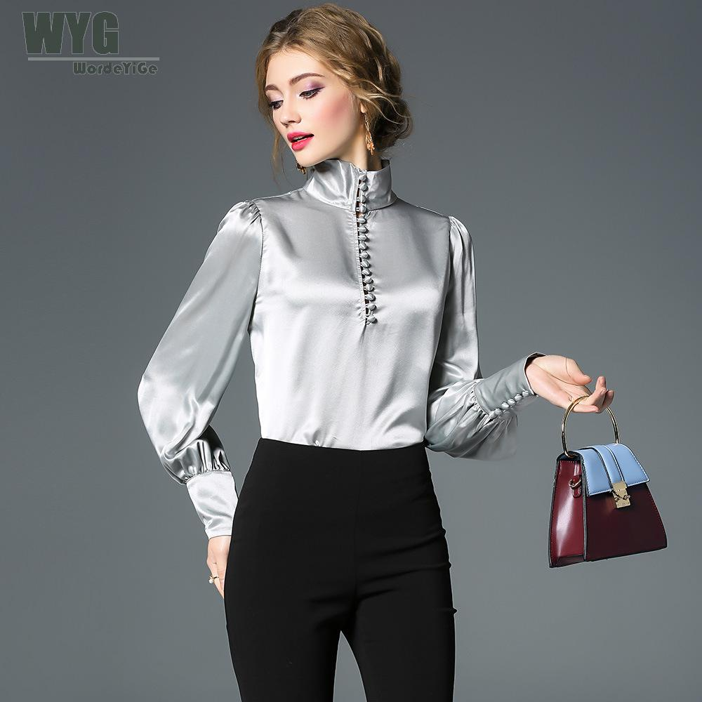 High Quality Acetate Blouses Women 2019 Spring New Arrival Palace Style Top  Fashion Buttons Long Sleeve d4d7ad6e8d30
