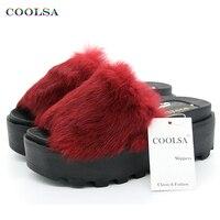 New Summer Plush Women Fluffy Slippers Flat Non Slip Animal Fur Feather Slides Home Flip