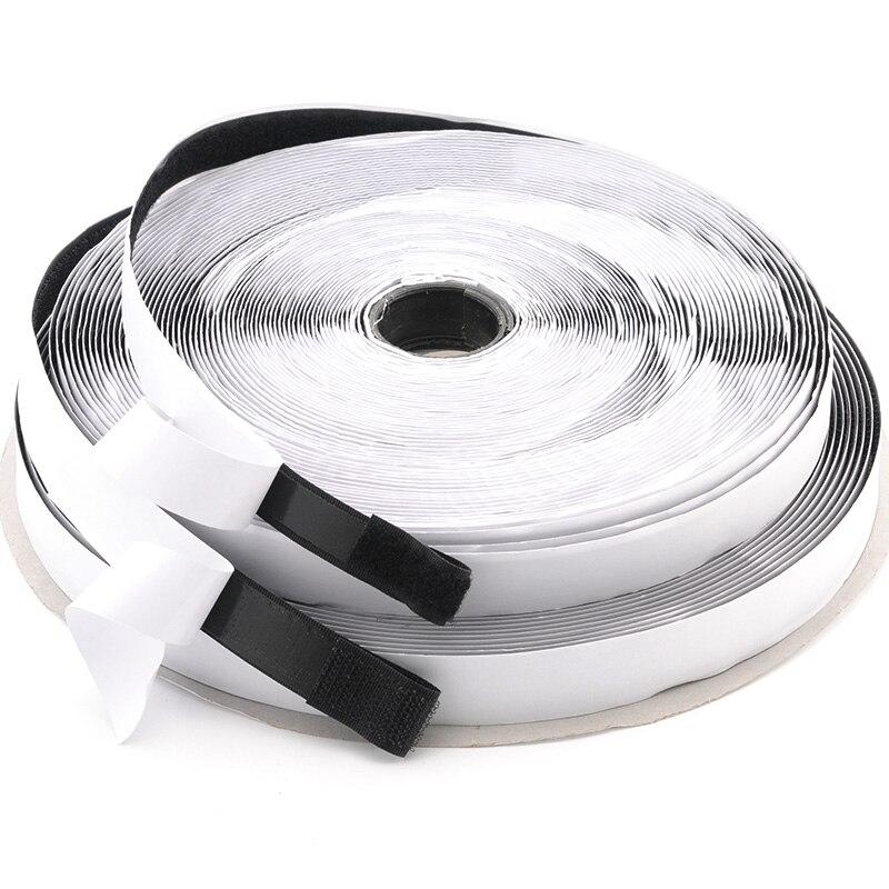 Черно-белая клейкая лента для крючков и петель, 16/20/25 мм, Волшебная нейлоновая клейкая лента для крючков, лента для шитья с сильным клеем, 5 м