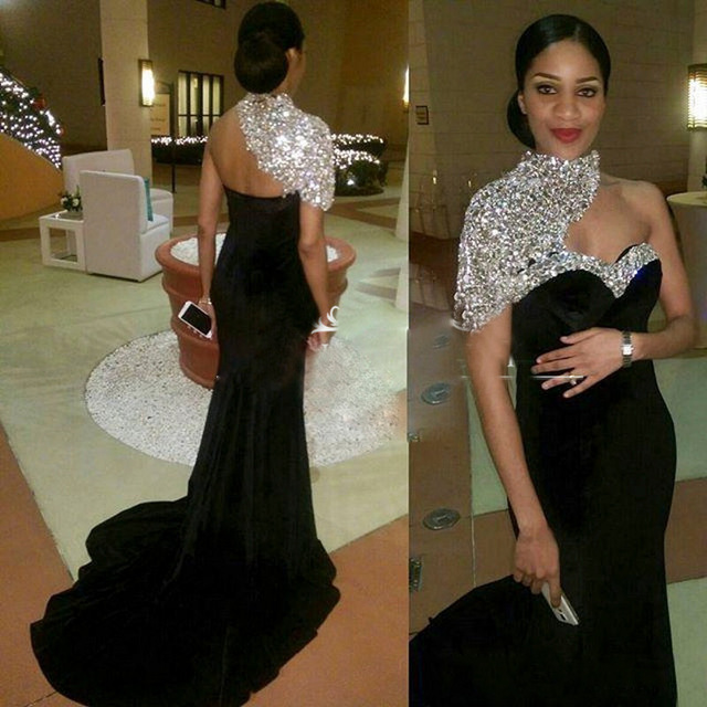 Luxury Black Long Women   Evening     Dresses   2019 High Neck Crystal Beaded Pageant Mermaid Gown For Formal   Evening   Party Gowns X-23