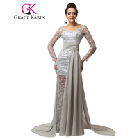 Grace Karin Women Grey Long Sleeve Evening Dress 2015 Plus Size Mother Of The Bride Lace