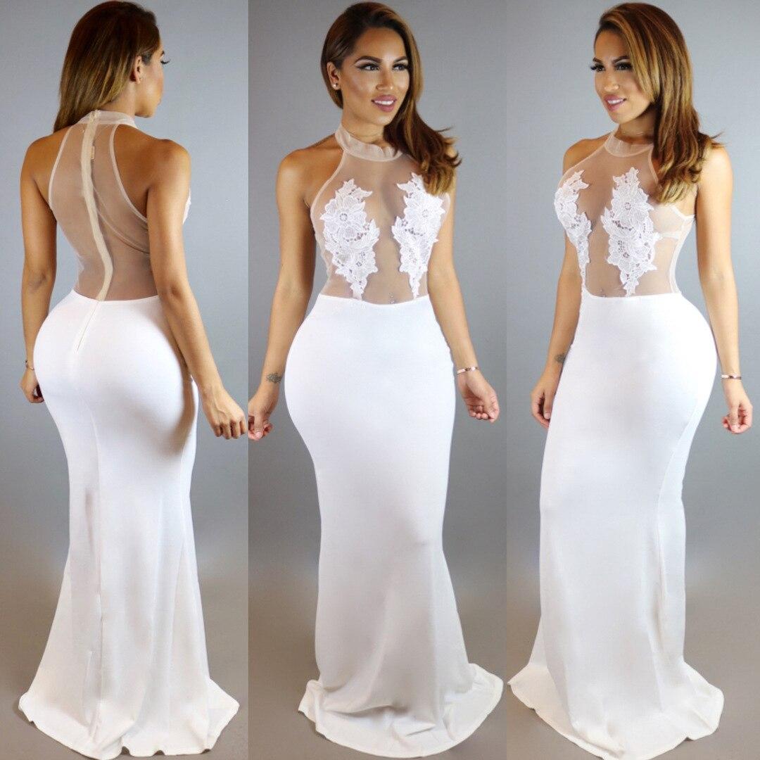 Spring Summer Women's White Mesh Embroidery Flower Big Hem Long Club Dress