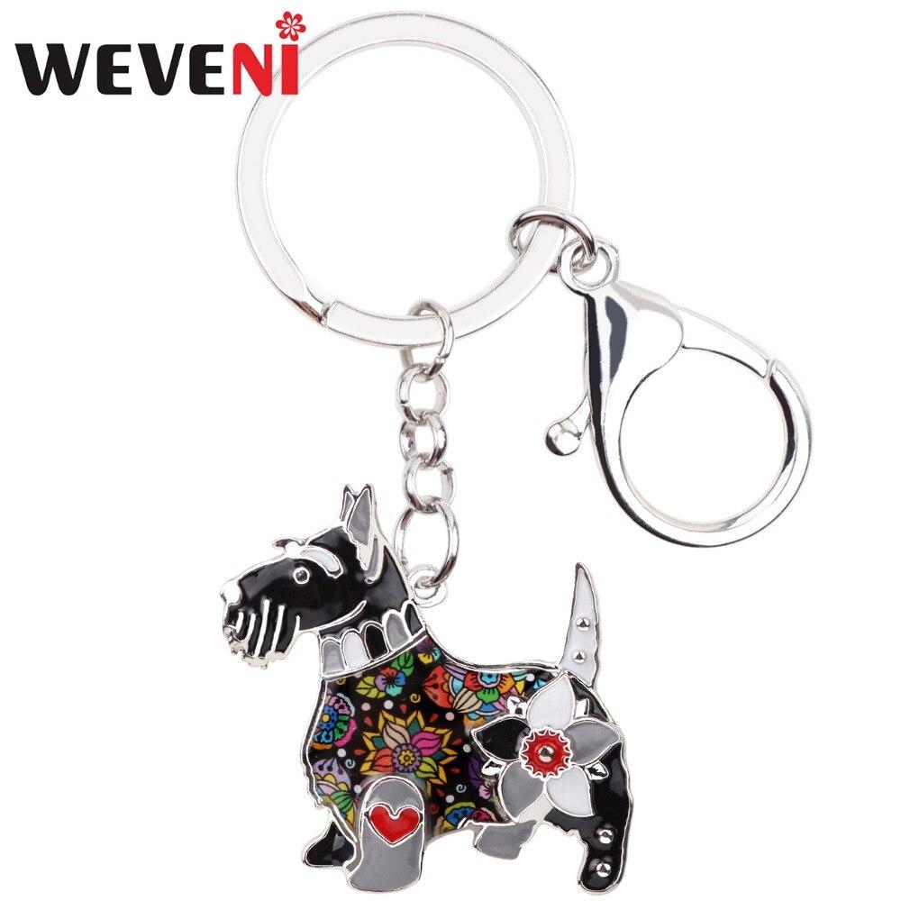 WEVENI Enamel Metal Aberdeen Scottish Terrier Dog Key Chain Key Ring Jewelry For Women Girl Bag Charm Keychain Accessories
