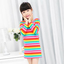 Lowest 2014 New Girls Dress Spring Autumn Children's clothing cute Rainbow long sleeve dresses sale 2~10Age