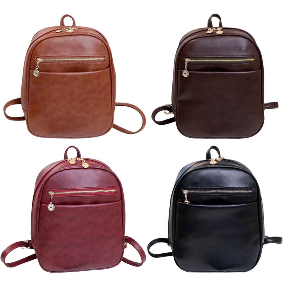 Vintage PU Leather Backpack School Bag Small Shoulder Bags ...