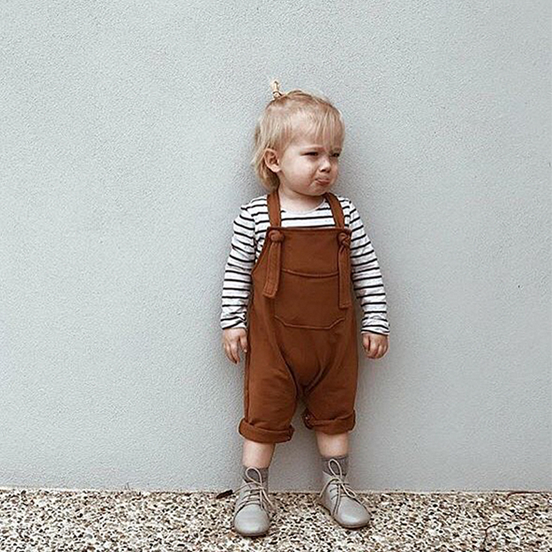 EnkeliBB Fashion Baby Boys   Rompers   Girls Spring   Rompers   Toddler Cute Solid Overalls Kids Lovely Brown/Green Suspender Pants