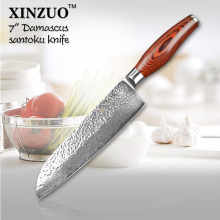 XINZUO 7″ santoku knife 73 layers Japanese Damascus steel kitchen knife senior vegetable knife Color wood handle free shipping