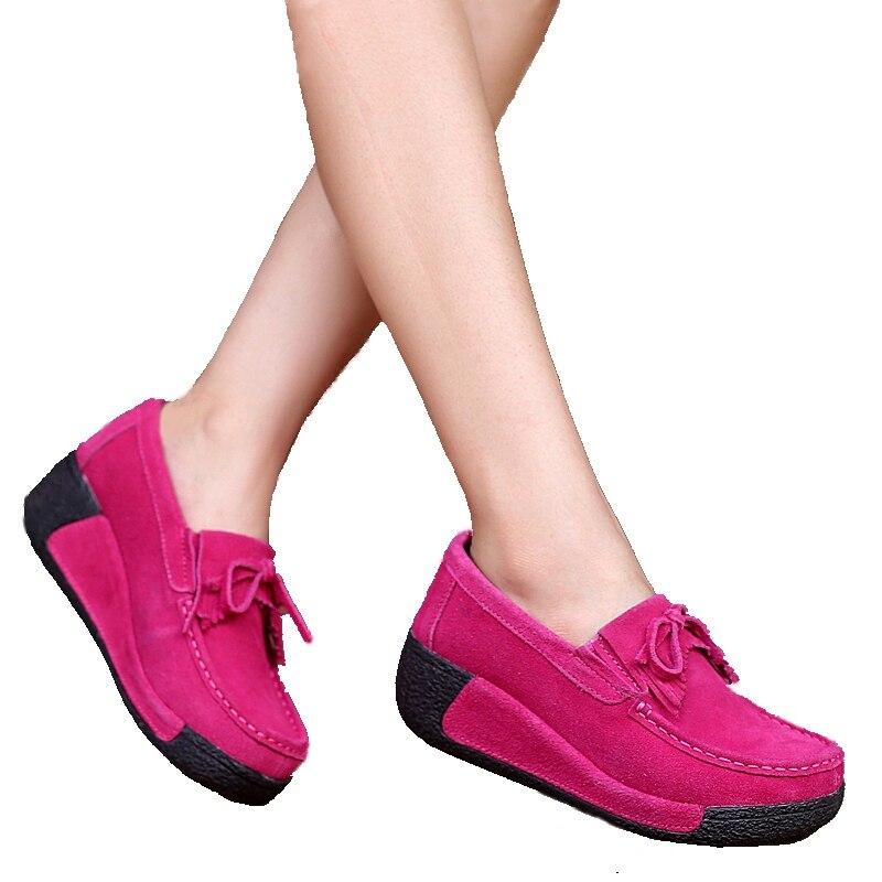 mujeres del Resorte zapatos de las cuñas de zapatos de plataforma de cuero cosi