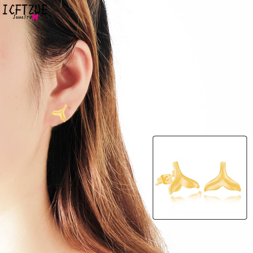 Fashion Jewelry Aros Animales Whale Tail Statement Dolphin Stud Earrings For Women Men Gold Colour Silver Pendientes Mujer BFF