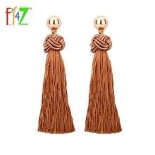 F.J4Z New Fashion Designer Gold Color Bead Brown Tassel Long Pendant Earrings for women Bijoux