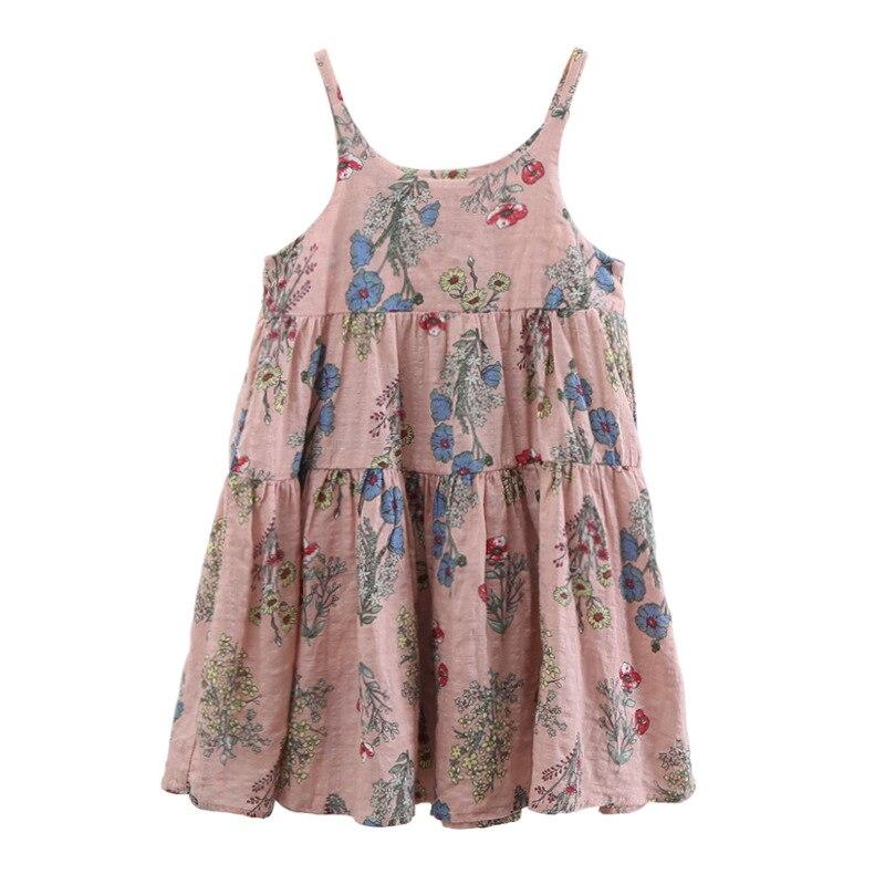 Children's Dress Summer Slip Dress 2019 Girls' Dress Hanging Sling Cotton Linen Flower Princess Costume Todler Girl Clothing