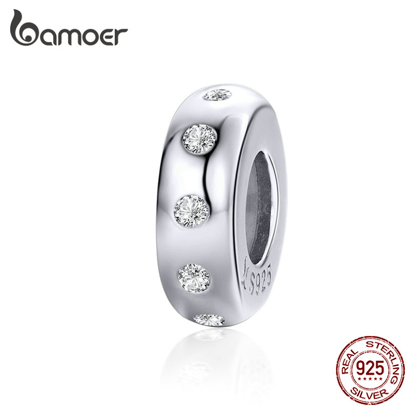 BAMOER Stoppers Charm For Bracelet 925 Sterling Silver Minimalist Crystal Charm With Silicone Fit Luxury Brand Bracelet SCC1171