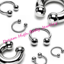 Horseshoe 316L stainless steel Body Piercing Jewelry Curved Circular Barbell Ball Horse Shoe 16G Eyebrow Ring Bar Various Sizes