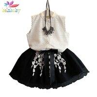 Belababy nuovo 2017 estate moda casual ragazza pizzo bianco top + Pizzo nero Tutu Skirt 2 Pz Set Abbigliamento Bambini Vestiti Set