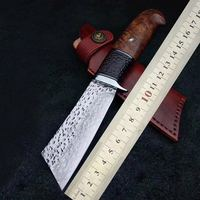 Handmade Tactical Army Survival Camping Knife VG10 Handle Hunting Outdoor Knife With Ebony Sheath 60 HRC Japanese Samurai Style