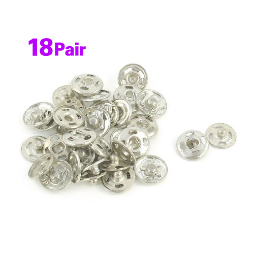 Silver Tone Metal 12mm Sewing Metal Fastener Press Studs Buttons 18 Pcs 1000pcs lot 15 mm snap fasteners popper press stud sewing leather button