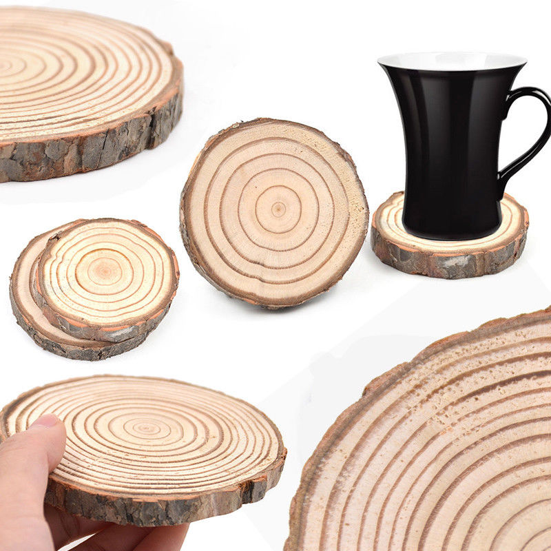 Rustic Natural Wooden Log Slice Cup Mat Coaster Tea Coffee Mug Drinks Round Holder Pine Tree Table Decor Wedding Centerpiece ...