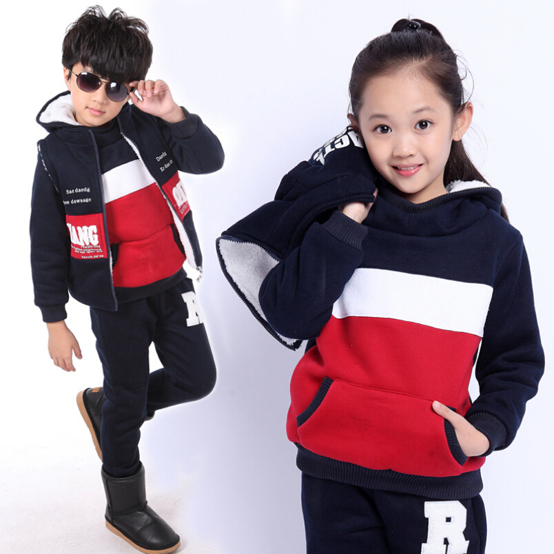 Winter Costume for Girls Tracksuits Boys Children Clothes Fashion Spell Color Sets Sweatshirts
