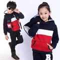 Winter Costume for Girls High Quality Tracksuits for Girls Boys Children Clothes Fashion Spell Color 3pcs Sets Sweatshirts