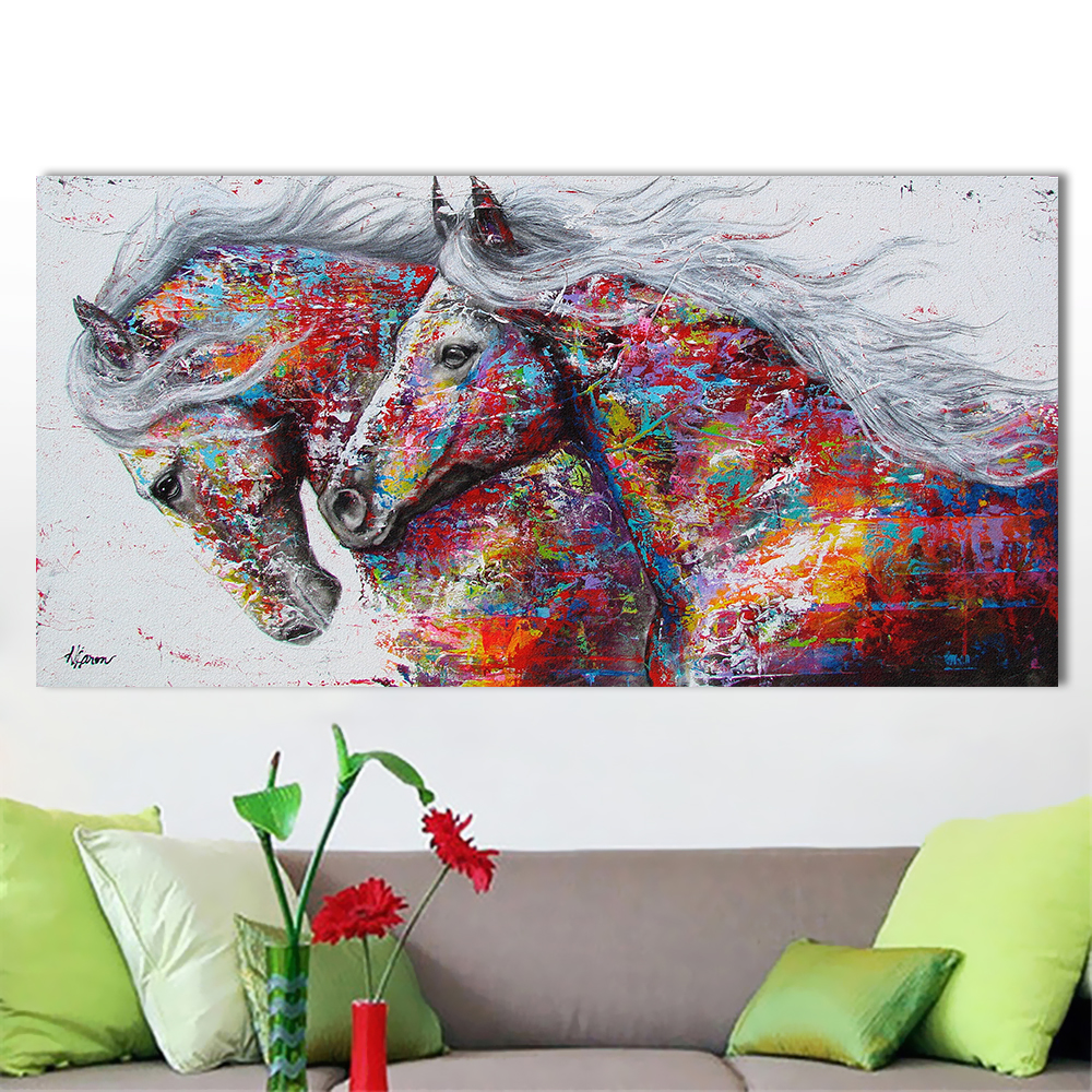 Wall Art Picture Canvas Oil Painting Animal Print For Living Room Home Decor The Two Running Horse No Frame in Painting Calligraphy from Home Garden