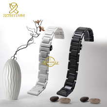 Pure Ceramic watchband bracelet 14mm 16mm 18mm 20mm white or black watch band watch strap Butterfly