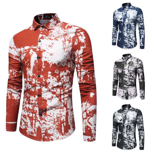 7dff954aa2e5 New Aummer Men s Shirts Cotton Floral Turn-down Collar Long Sleeve Tops  Buckle Cardigan Male T-shirt Late Summer Hot Sale