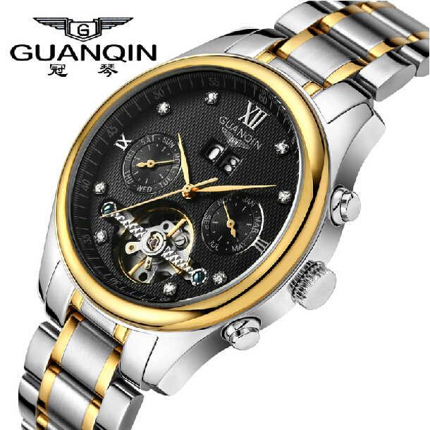 GUANQIN Top marque hommes montre Tourbillion montres hommes en acier inoxydable automatique mécanique étanche luxe diamant hommes montres