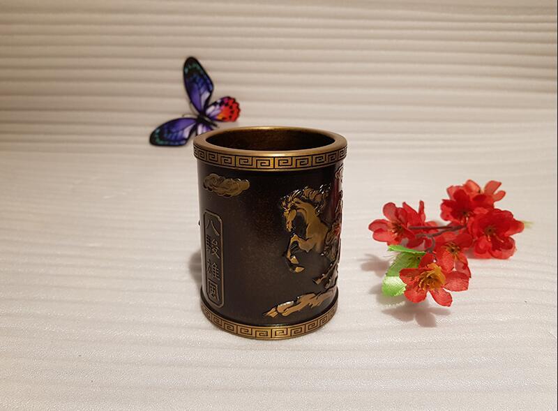 Vintage Chinese style bronze pen holder (3)