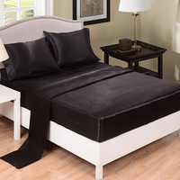 Satin Fabric Fitted Sheet Sets Black White Color Rubber Mattress Protector Twin Full Queen King Size Bedding Sets
