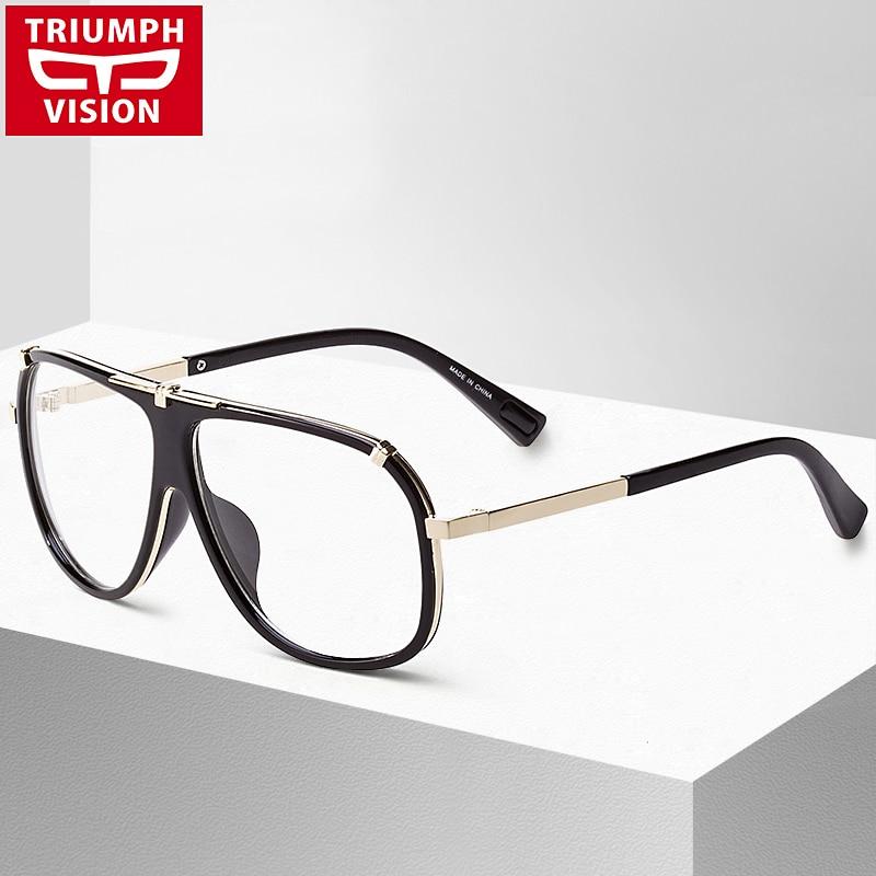 b37a18a043d TRIUMPH VISION Black Pilot Eyewear Frames Men Brand Big Spectacle Frame  Myopia Optical Eye Glasses Male Clear Lens Eyeglasses
