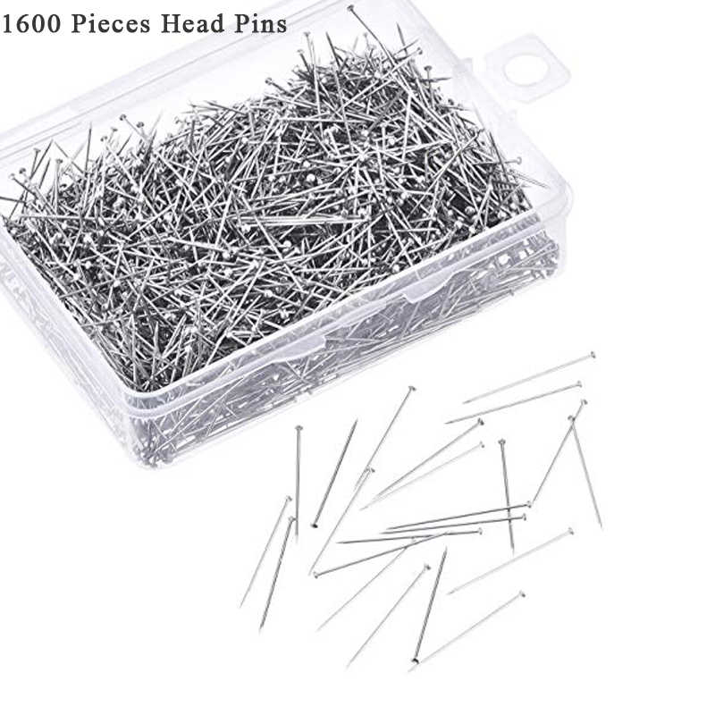1600 Pieces Head Pins Fine Satin Pin Dressmaker Pins for Jewelry Making Sewing and Craft Stainless Steel 1 1/16 Inch