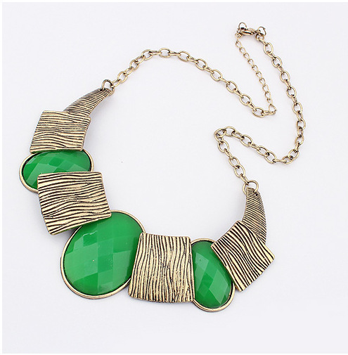 Free Shipping 2014 Colored Geometric Gems Maxi Necklace For Women Collars Brand Charm Necklaces & Pendants Accessories N489