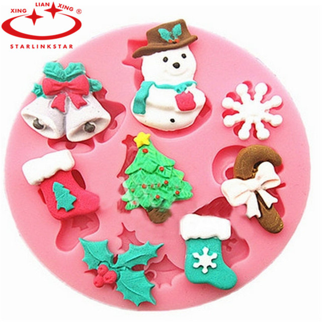 1 pcs snowman christmas tree shape christmas silicone mold round fondant cake mould molds diy decorating