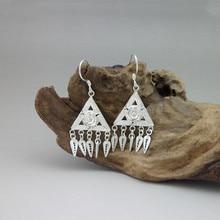 Vintage Triangle 999 Sterling Silver Dangle Earrings For Women Drop Tassel Earing Flower Ethnic Handmade Boho Jewelry Luxury цена