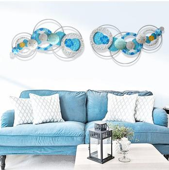 Modern Wrought Iron Luxury Round Shape Wall Hanging Crafts Decoration Children's Room Wall Mural Ornament Home Hotel Accessories