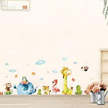 Cartoon zwierząt strona naklejki ścienne naklejka dla dzieci samoprzylepne winylu tapety ścienne dla dzieci dziewczyna chłopiec pokoju wystrój przedszkola