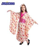 Baby Girl Kimono Dress Japanese Floaral Dress Robe Child Novelty Geisha Cosplay Children Vintage Yukata Kids Dance Costumes