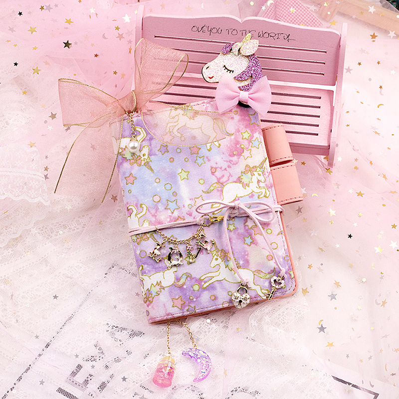 A5 A6 Kawaii Unicorn PU Leather Graffiti Grid A6 Notebook Planner Diary Memo Handbook Sketchbook Birthday Gift For Kids Girls in Notebooks from Office School Supplies